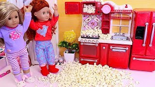 Play American Girl and OG Baby Dolls Slumber Party with Popcorn Maker Toy! 🎀