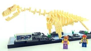 NanoBlocks Plesiosaurus Dino Skeleton exhibit - Lego style dinosaur bricks - Dinosaurs speed build