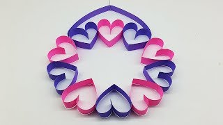 Wall Hanging Ideas with Paper Heart - DIY Room Decor Ideas