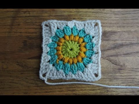 How To Crochet Sunburst Granny Square Youtube