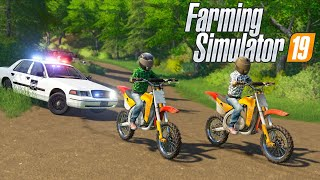 DIRT BIKERS EVADING THE POLICE ON DIRT BIKES! | (ROLEPLAY) FARMING SIMULATOR 2019