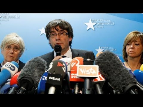 Ousted Catalan president Carles Puigdemont speaks in Brussels