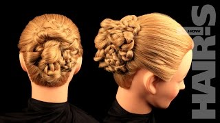 Аккуратная прическа-пучок из кос - видеоурок (мастер-класс) Hair's How.