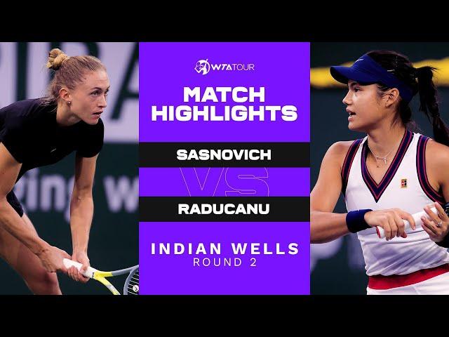 Aliaksandra Sasnovich vs. Emma Raducanu | 2021 Indian Wells Round 2 | WTA Match Highlights