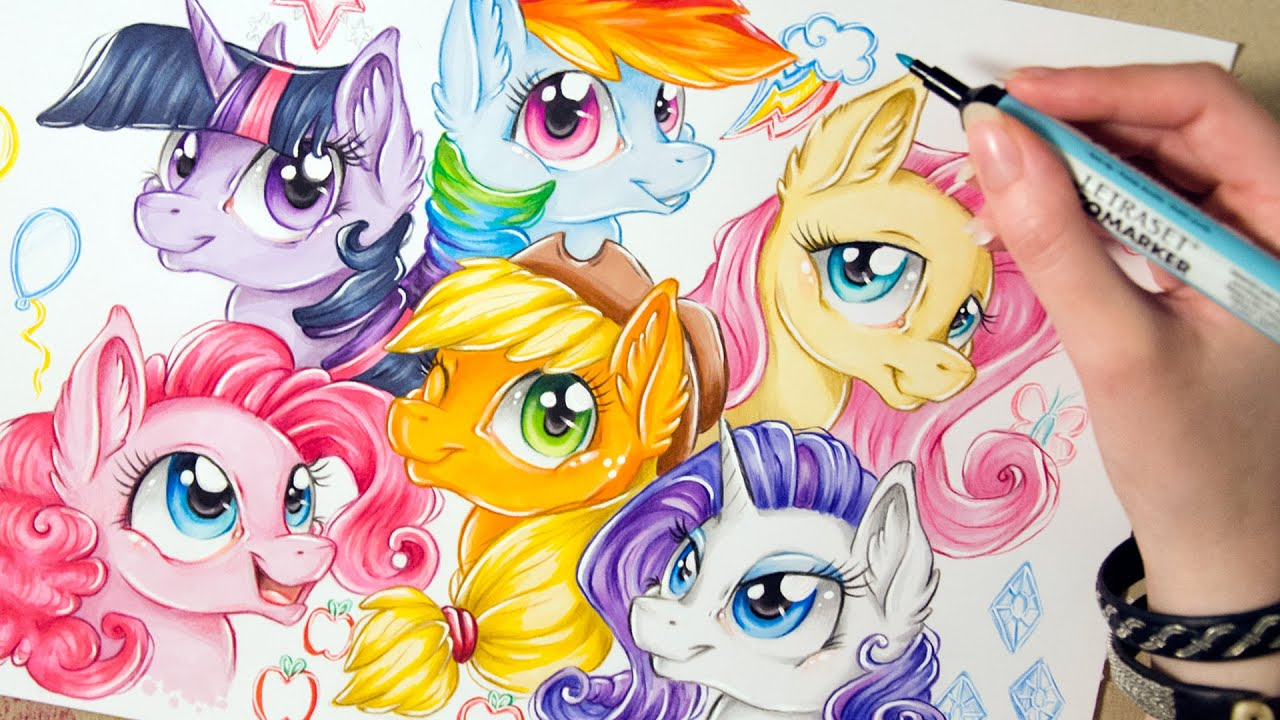 speed drawing mlp mane 6 short version my little pony art