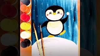 """Правополушарное рисование для детей. Видео урок """"Как нарисовать пингвина"""", рисование гуашью, арт"""
