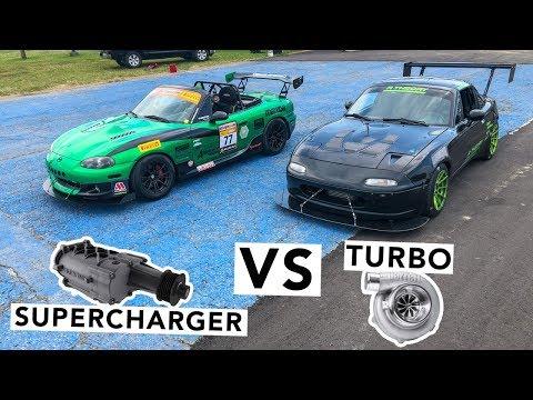 Supercharged Miata VS Turbo Miata Track Battle