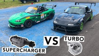Supercharged Miata VS Turbo Miata Track Battle