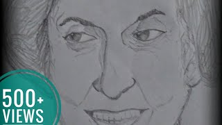 How to draw Indira Priyadarshini Gandhi pencil sketch