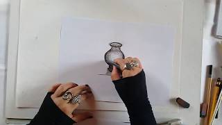 How to draw a jar with charcoal #1 steps in virtual art tutorial