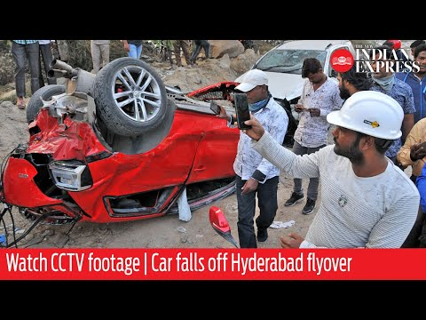 WATCH CCTV footage | Car falls off Hyderabad flyover, crushes woman below
