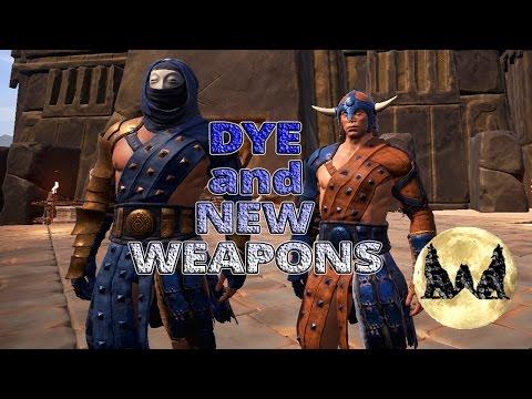 CONAN EXILES EP 26: HOW TO MAKE DYE/ NEW WEAPONS/ HYENA ARMOR!!!