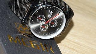 Мужские кварцевые часы из нержавеющей стали. Хронограф MEGIR