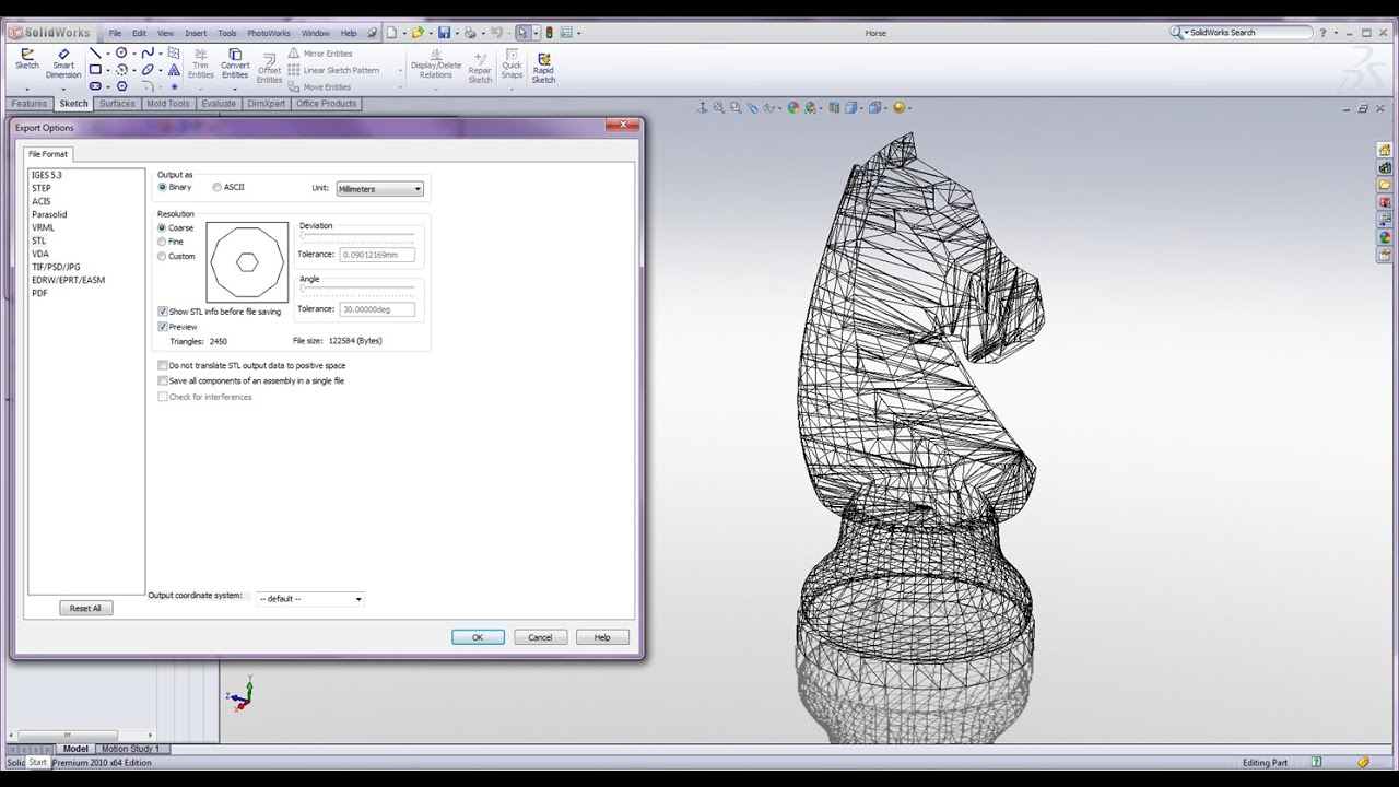 High Quality Stl Files In Solidworks Youtube