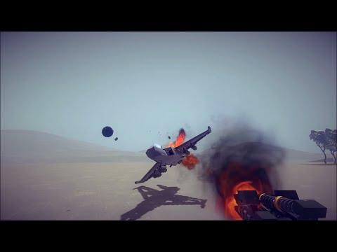 Attack Plane Vs Anti-Aircraft Cannon - Besiege Multiplayer
