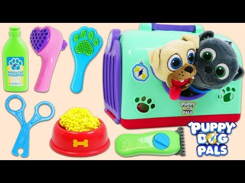 Disney Jr Puppy Dog Pals Bingo & Rolly Go to the Groomer for a Bath and Cleaning!