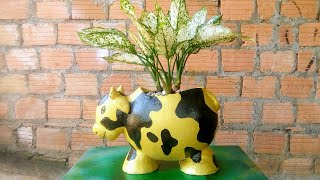 Make flower pots with cement and sand at home