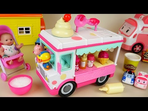 Thumbnail: Baby Doll and ice cream car toys making ice cream play doh