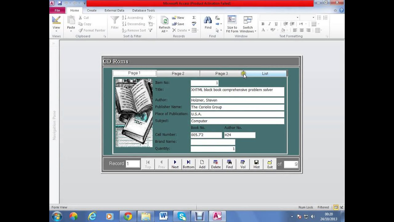 library management system in access