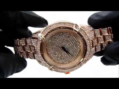 Iced out rose gold Techno Pave men watch