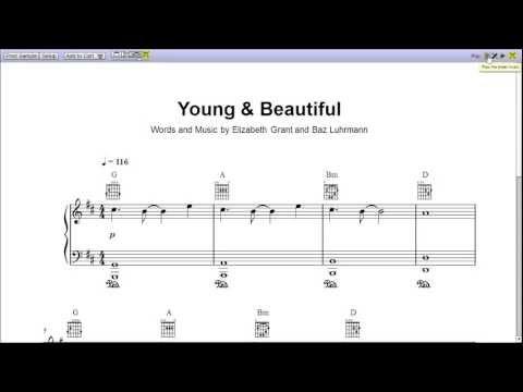 Young and Beautiful - Piano Sheet Music [Teaser]
