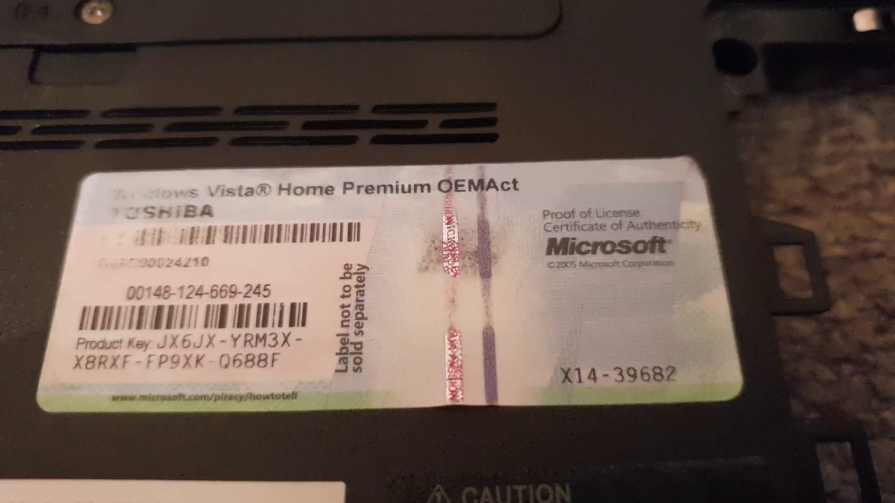windows vista home premium oemact toshiba