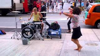 Amazing Street Performing Drummer & Psycho Lady Dancing (part 2) - Toronto