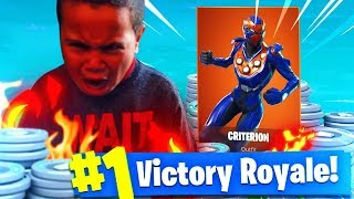 9 YEAR OLD KID *RAGES* SO HARD OVER A SKIN! *NEW* CRITERION SKIN! FORTNITE BATTLE ROYALE! (FUNNY!)