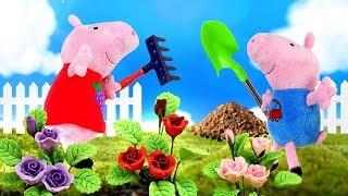 Свинка Пеппа и игрушки. Видео для детей, как Пеппа и Джордж сажают цветы и лепят куличики ФОРМОЧКИ