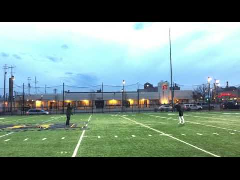 Future Iowa punter Ryan Gersonde works out at Marquette University High School