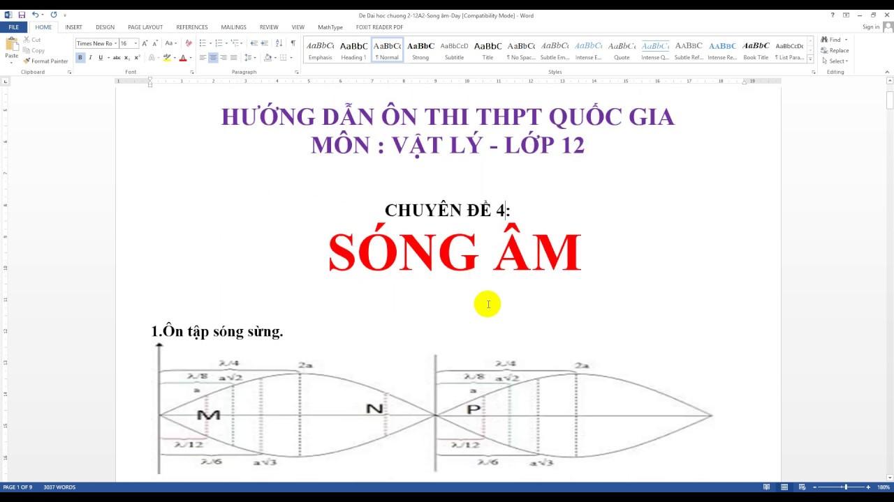 Chuyên đề Sóng âm-Vật lý 12-Ôn thi THPT QG-Thầy Mai Nghiêm-Review high school national exam