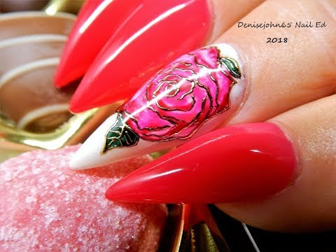 Rose Nails Painted With Gel Polish Hy Valentines Day