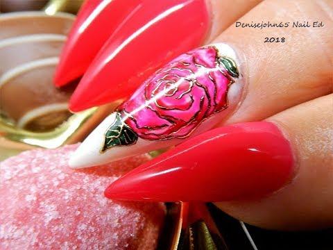 DIY ---  Rose Nails 🌹  🌹 -------------------------( Gel Polish )  Happy Valentines Day ❤️❤️