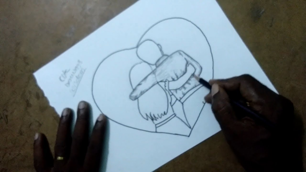 How To Draw A Cute Romantic Couple With Pencil Sketch By Cute Drawings Wisdom Youtube
