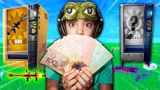 GUESS THE CORRECT FORTNITE VENDING MACHINE *MONEY* CHALLENGE! | LITTLE BROTHER GUESS FORTNITE SOUNDS