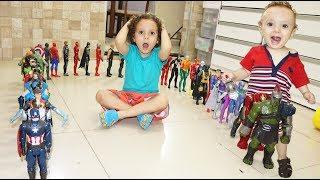 Dominó de bonecos toda minha coleção  Avengers e Liga da Justiça 2019
