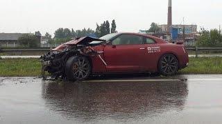 Суровый уральский тест-драйв спорткара «Ниссан GT-R» закончился в отбойнике