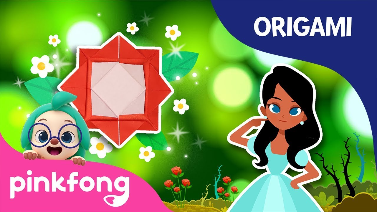Sleeping Beautys Rose | Pinkfong Origami | Origami and Songs | Pinkfong Crafts for Children