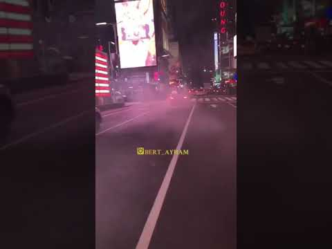 Mercedes Benz burn out hit and run Time square part 2