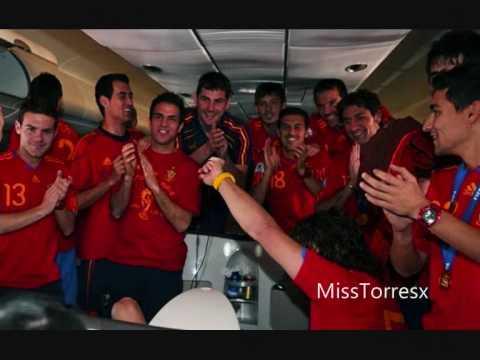 Spanish National Team celebrating [on the plane & in Madrid]