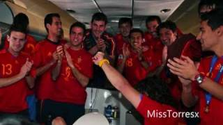 Spanish National Team celebrating [on the plane & in Madrid]