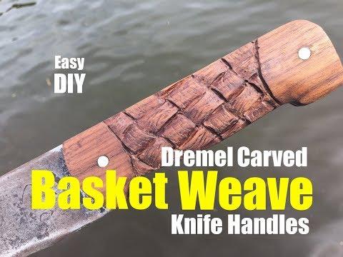 How to Carve Wood Basket Weave Knife Handles with a dremel grinder
