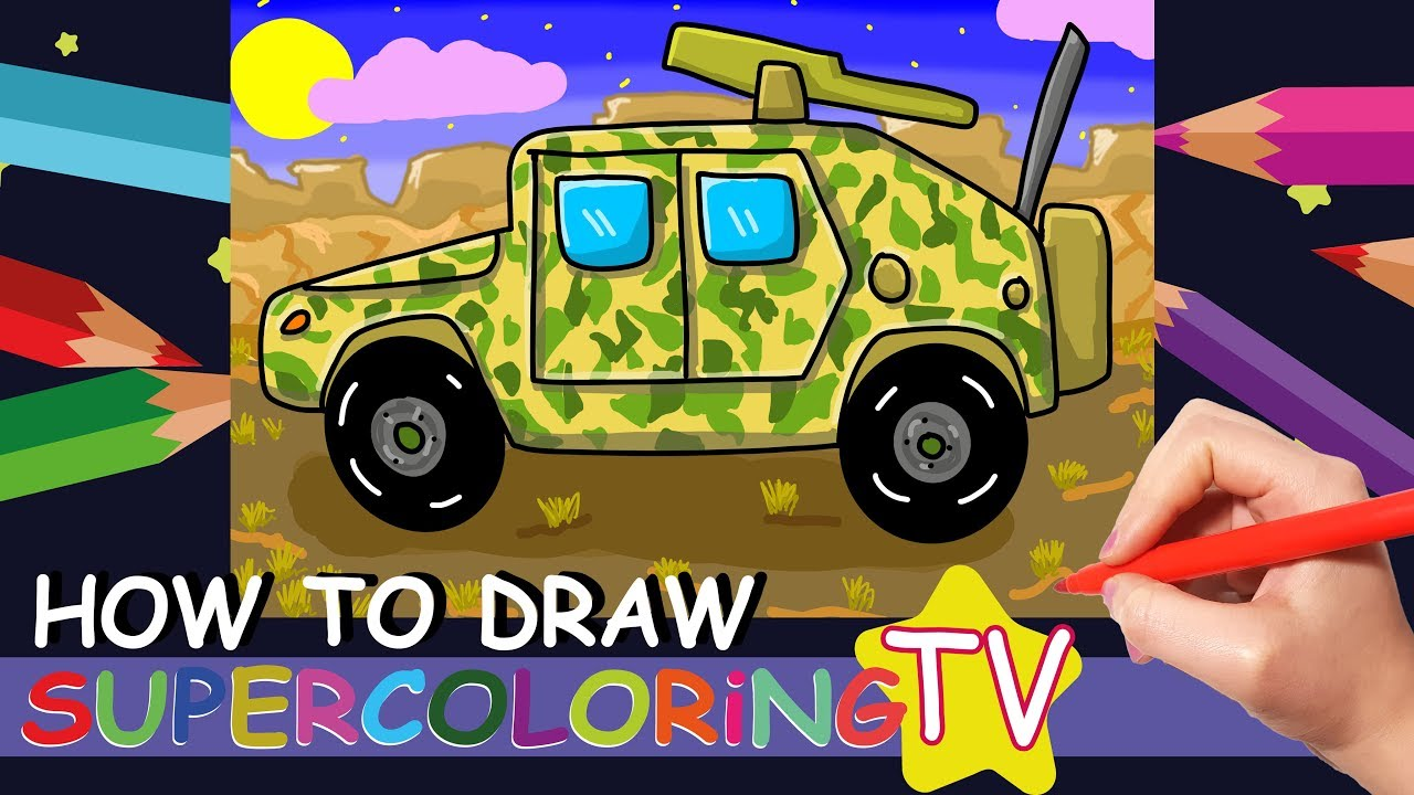 How To Draw A Military Truck For Kids Vehicles Coloring Pages Learn Simple Easy Drawing For Kids Youtube