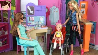 Barbie Chelsea Breaks Her Leg in The Playground -  Barbie Doctor Hospital Playset