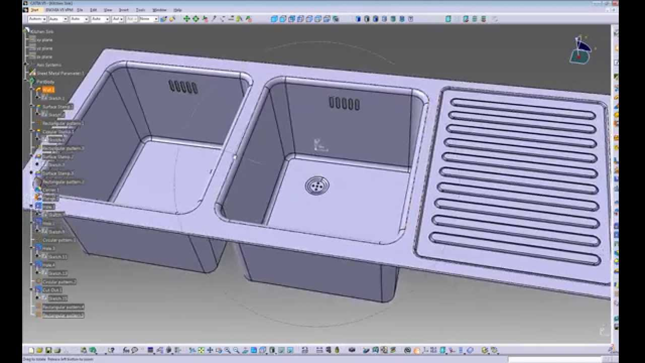 Catia V5 Sheetmetal Example 1 Kitchen Sink Long