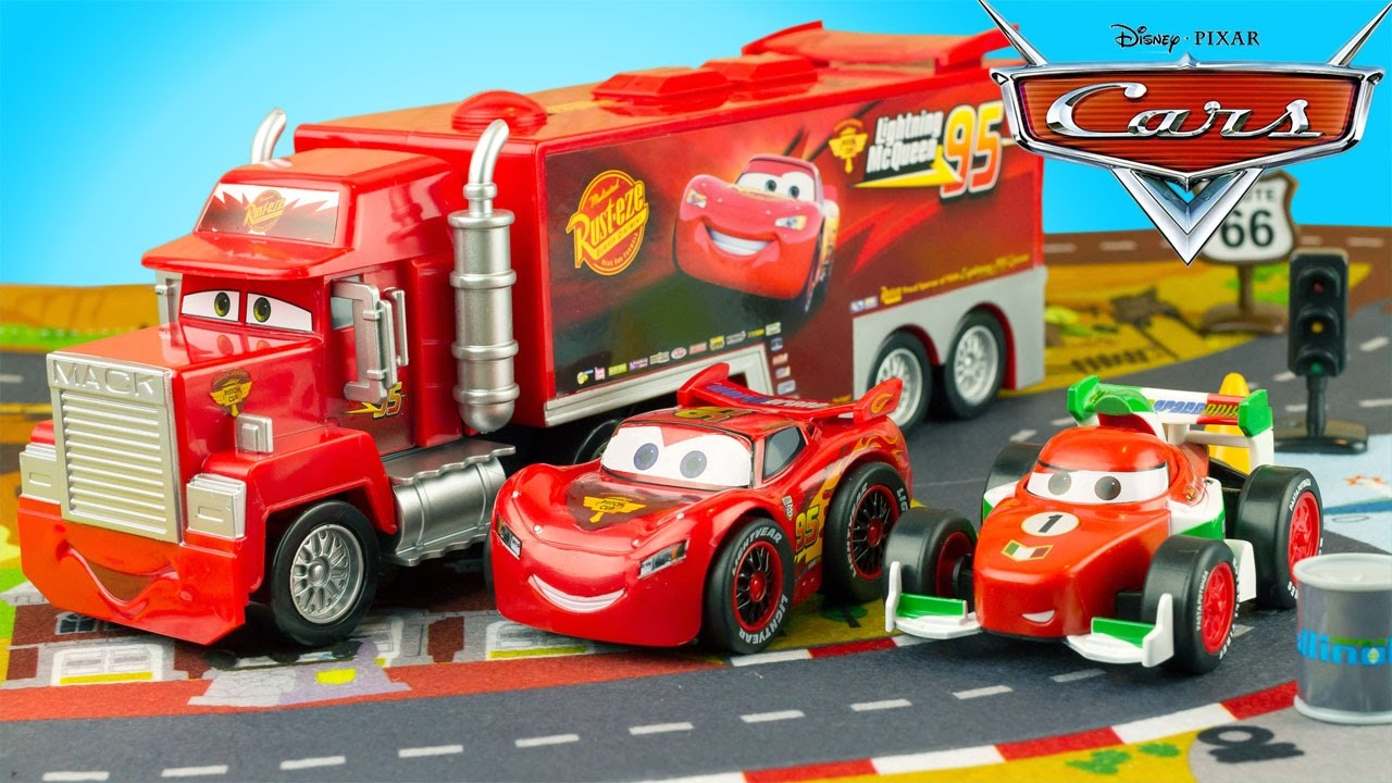 Disney cars camion mack truck deluxe playset flash mcqueen disney store jouet toy review - Cars camion mack ...