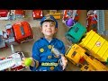 Pretend Play Cops & Robbers - Hidden Egg Hunt in Huge Toy Truck Collection with Police Costumes