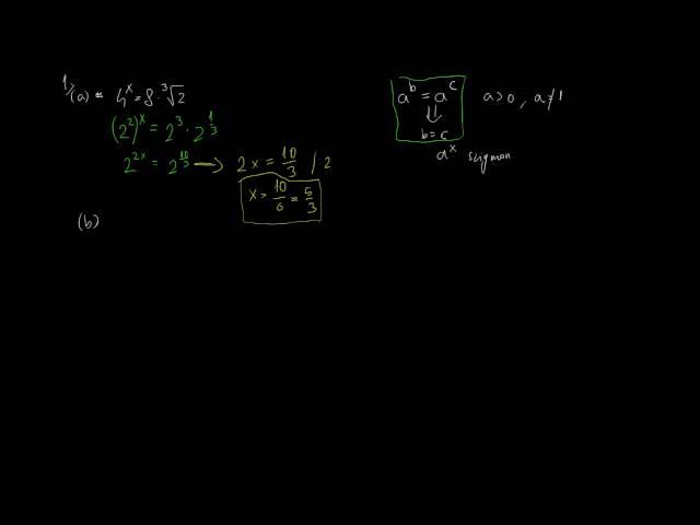 Exponenciális egyenletek és egyenlőtlenségek 1