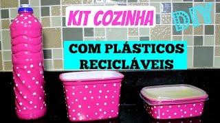 DIY /COMO FAZER KIT COZINHA COM PLÁSTICOS RECICLÁVEIS