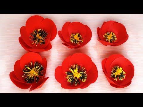 Paper flowers DIY tutorial: Poppy flower made of paper   Maison Zizou